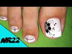 DECORACION DE UÑAS- FLOR#6- NAIL DECORATION - FLOWER#6-NR22❤💅 - YouTube Toe Nail Flower Designs, Pedicure Designs, Pedicure Nail Art, Toe Nail Art, Nail Art Designs, Pretty Toe Nails, Pretty Toes, Angel Nails, Summer Toe Nails