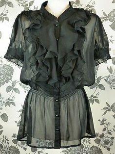 VINTAGE BLACK SHEER CHIFFON RUFFLE BLOUSE TOP-10 38 8 victorian steampunk goth