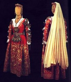 Traditional Arbëresh costume worn during the wedding ceremony performed according to the Byzantine rite. Piana degli Albanesi,Sicily,Italy