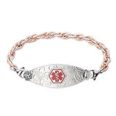 Divoti Custom Engraved Lovely Filigree Medical Alert Bracelet -Inter-Mesh Rose Gold/Silver-Red - http://www.jewelryfashionlife.com/divoti-custom-engraved-lovely-filigree-medical-alert-bracelet-inter-mesh-rose-goldsilver-red/