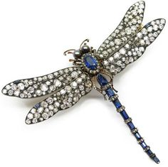 Sapphire, pearl, and diamond tremblant dragonfly brooch, circa 1895.