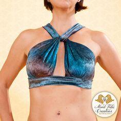 Tribal Fusion Belly Dance Top Blue or Pink Velvet Old