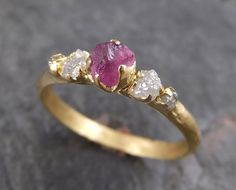 Raw Sapphire Diamond 18k Gold Engagement Ring Wedding Ring Custom One Of a Kind Hot Pink Gemstone Ring Three stone Ring