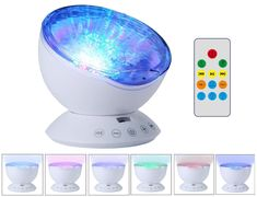 [With Adapter] New Version O'Hill Remote Control Ocean Projector Wave Night Light and Music Player Bonus with Adapter for Baby Nursery, Bathrooms, Living Room, Party and Light Show