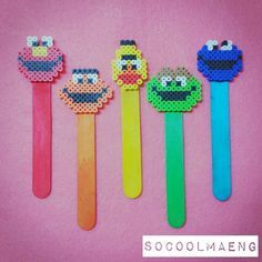 I don't like Sesame Street, but the perler bead/coordinating color Popsicle stick bookmark IDEA = the CUTEST! ♡