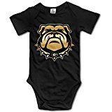 Kids Baby Georgia Bulldogs Gold Style Logo Sleeveless Romper Jumpsuit Black