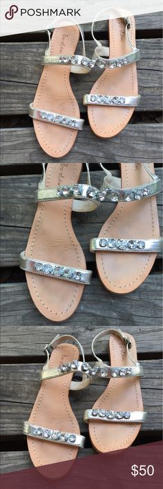 Boden silver rhinestone sandals. Sz 39 Pre-loved. Good condition Boden Shoes Sandals