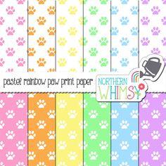 Pastel Paw Prints Digital Paper Pack – pastel scrapbook papers for pet scrapbooks, card making, web backgrounds – instant download – CU OK #pastel #pawprint #cat #dog #scrapbookpaper #digitalpaper #digiscrap