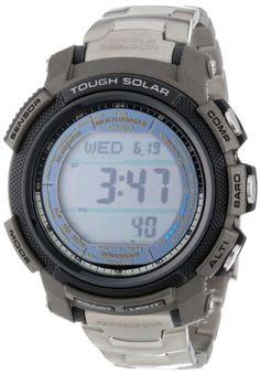 Casio Men's PAW2000T-7CR Pathfinder Digital Multi-Function Titanium Bracelet Watch - Other high-tech features include multi-band atomic automatic time adjustment sunset and sunrise data, and Triple Sensor Solar technology, making this one of the most powerful tools for the outdoor adventurer.