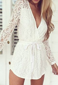 White Lace V-neck Romper - Long Sleeves Lace Romper