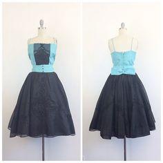 años 50 turquesa y negro vestido de fiesta por CheshireVintageShop