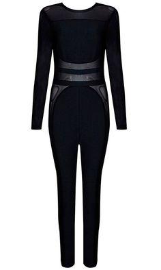 Dream it Wear it - Long Sleeve Mesh Insert Bandage Jumpsuit Black d8891bd32