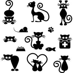 Black Cat Silhouette For Your Design Stock Vector - Illustration of eyes, kitten: 14429179 Silhouette Chat, Silhouette Portrait, Silhouette Design, Cat Silhouette Tattoos, Silhouette Images, Black Silhouette, Stone Drawing, Silhouettes, Cat Clipart