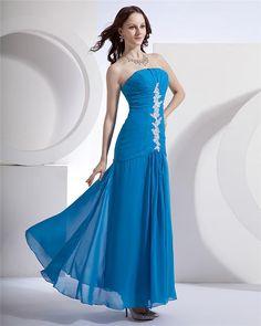2015 Robes De Soiree Strapless Decorated Sparkle Crystal Chiffon Vestidos De Festa In Floor Bule Maxi Dress Long Evening Dresses
