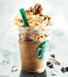 Heart attack anyone? Visit Starbucks in Japan and you can enjoy the Coffee and White Tiramisu Frappuccino (pictured), with layers of cookie crumble, brownie and cream cheese mousse
