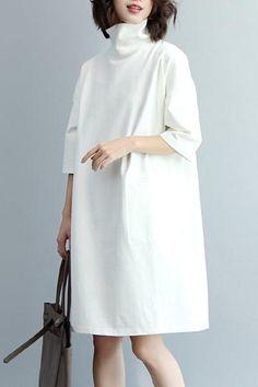 Women High Neck Loose Knitted Cotton Dress, Half Sleeve Dress Q7280