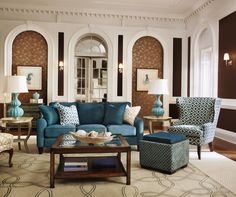 The teal Talbot sofa anchors this living room furniture arrangement. Get more living room furniture inspiration and enter to win a La-Z-Boy gift certificate! http://houseandhome.com/design/photo-gallery-furniture-inspiration #contest