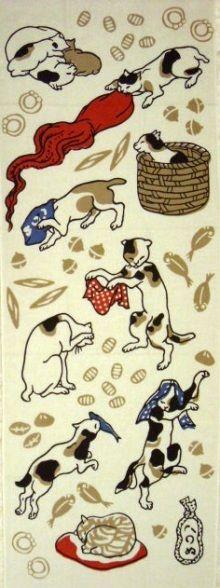 かまわぬ原宿店限定  「猫飼好 かまわぬ好み」  japanese ukiyoe style cat fablic