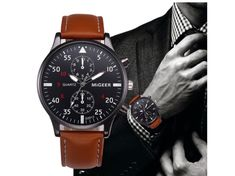 Men's LARGE Pilots watch by MIGGER. Similar toFORTIS, TAG HEUER, MILITARY WATCH,