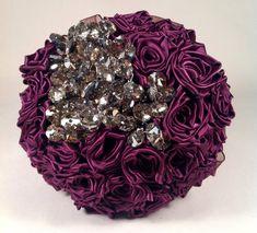 Satin Rose And Crsytal Bridal Bouquet by ToHoldAndToHave on Etsy