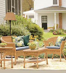 value-priced-lightweight--all-weather-resin-outdoor-wicker-seating; chair $99, end table $79; in white, tan, and green, lots of cushions