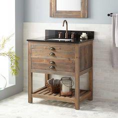 Pics Of  Benoist Reclaimed Wood Console Vanity for Rectangular Undermount Sink Gray Wash Pine