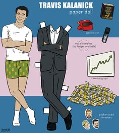 This paper doll commission for the latest PandoQuarterly print magazine is of Uber founder Travis Kalanick. I have a bunch of drawings in the issue, so if you get it in your mail and are like oh cool drawings check if it's one of mine. As always, you can contact me about custom paper dolls for you or your political magazine.