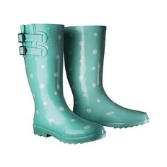 Women's Novel Dot Rain Boot - Mint ($35) ❤ liked on Polyvore featuring shoes, boots, mid-calf boots, pull on boots, lined rubber boots, wellington boots, slip on rubber boots and polka dot rain boots