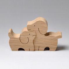 組み木 木のおもちゃ 『遊プラン』 KA164 | イヌのカップル