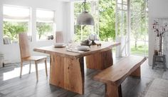 Gorgeous, natural wood dining table in an open, sunny room. Delightful. Esstisch-canyon-170x90-akazie-hell547c02e5accdd