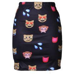 Womens Slimming Cat Emoji Digital Printed Pencil Skirt Black ($14) ❤ liked on Polyvore featuring black