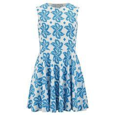 Diane von Furstenberg Women's Jeannie Dress - Giant Leaf Floral Blue (495 CAD) ❤ liked on Polyvore featuring dresses, blue, blue sleeveless dress, floral skater dress, floral skater skirt, blue floral dress and cotton dress