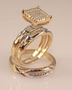 Men's And Ladies Diamond 14K Yellow Gold Over Trio Set Wedding Engagement Ring #br925silverczjewelry