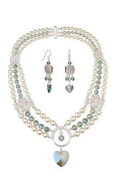 Jewelry Design - Triple-Strand Necklace and Earring Set with Celestial Crystal® Beads and Imitation Rhodium-Finished Pewter and Egyptian Glass Rhinestone Spacer Bars - Fire Mountain Gems and Beads