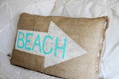 burlap beach pillow 3