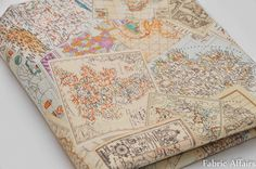 Vintage Retro World Map Stamp Blocks Cotton Linen Fabric...for making own bunting?
