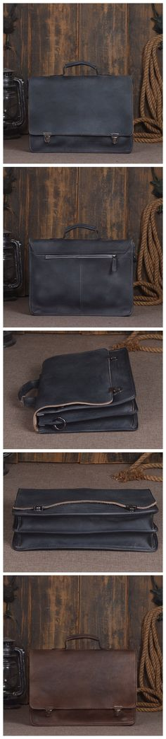 41a68fdde7 ROCKCOW Full Grain Genuine Leather Laptop Bag