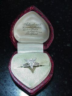 Vintage 1.37 Carat Trillion Cut Brilliant Diamond Platinum Engagement Ring on Etsy, $3,485.00