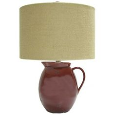Red Pitcher Lamp with Tan Burlap Shade   Shop Hobby Lobby