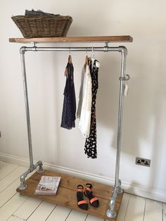 Vintage Industrial Clothes Rail & Shelf / Wardrobe / Shoe Storage / Coat…