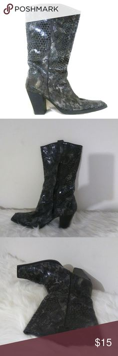 Used womens snake skin, square toe boots Grey/black mixed snake skin with metallic glow, square toe, inner zipper size 8 (inside walls peeling away, slight worn marks on bottom) me too Shoes Heeled Boots