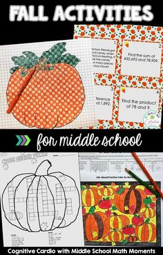 Are you looking for a few engaging fall activities for your middle school or upper elementary students Check out this bl Middle School Activities, Education Middle School, Middle School Classroom, Middle School Art, Thanksgiving Activities, Autumn Activities, Math Activities, Halloween Math, The Calling