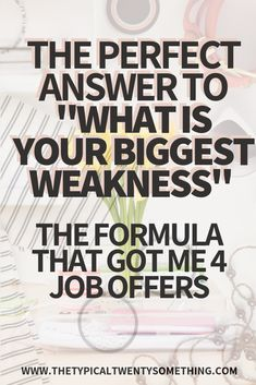 Struggling with job interview questions? Here's how to answer the job interview question, what is your biggest weakness! Job interview questions are tough, here's the career motivation you need. Job Interview Quotes, Top Interview Questions, Job Interview Answers, Job Interview Preparation, Job Interviews, Interview Weakness Answers, Interview Tips Weaknesses, Tips For Interview, Preparing For An Interview