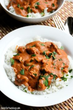 Chicken Tikka Masala {Crockpot} (use seitan or tofu instead; can use half&half instead of heavy cream)