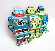 "Robot Hook -Decorative Coat Rack -  Nursery Hangers -  Children Room Decor -Grey and Blue -  ""Silver"" Model by Gala studio"