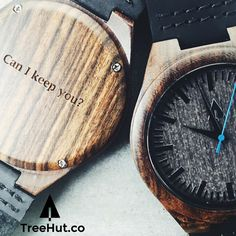 """""""Can I Keep You?"""" #personalized gift for him, wood #watch from Treehut Co."""