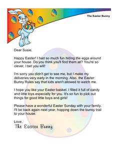 a printable letter from the easter bunny intended to be left out for a child to