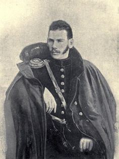 Leo Tolstoy. 1854. Tolstoy is wearing the uniform of a Russian artillery officer and in fact fought at the Battle of Chernaya in 1855 during the Crimean War. This is where he witnessed the total defeat of a Russian force against an allied force comprised of French, Sardinian and Ottoman Troops.