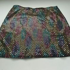"XS to the max! Mini skirt Fully lined rainbow shiny mesh mini skirt, 14.5"" from waistband to hem. Super sparkly and fun mini! to the max! Skirts Mini"