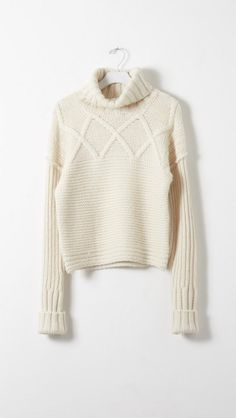 Apiece Apart Lucia Turtleneck Fisherman Sweater in Cream | The Dreslyn